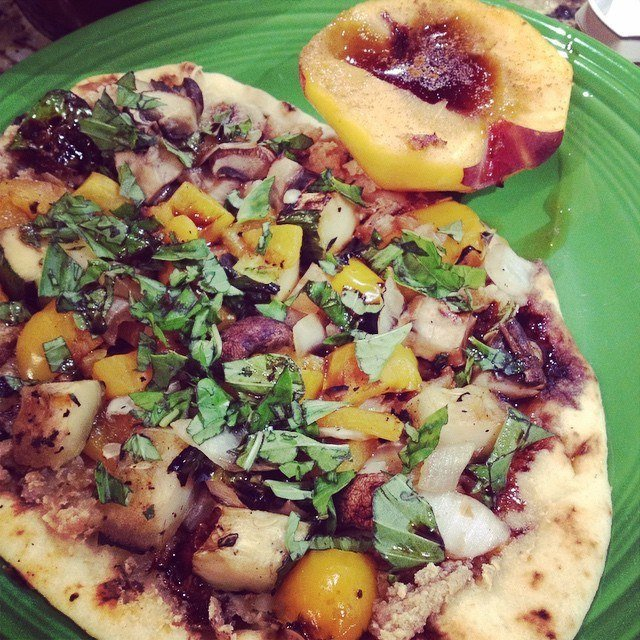 "Grilled veggie pizza on Naan bread (okay, not GF but oh so yummy) - covered with basil, cashew ""cream cheese"" and balsamic reduction, with a side of baked peaches with cinnamon/honey!"
